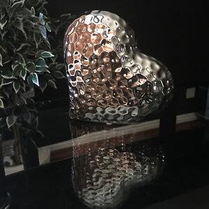 Chrome Silver Hammered EFFECT Heart  Sculpture Ornament H16cm SILVER LOVE HEART