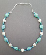 Azurite Malachite Bead Sterling 925 Silver Necklace