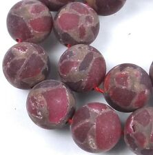 12mm Frost Matte Ruby in Quartz with Pyrite Round Beads (16)