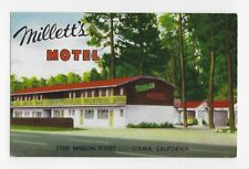 MILLETT'S MOTEL, COLUMA, CALIF. CHROME POSTCARD