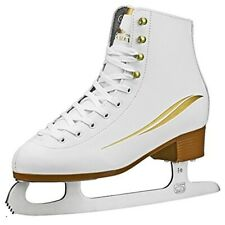 Lake Placid Cascade Women's Figure Ice Skate, White/Gold Accent, Size 5