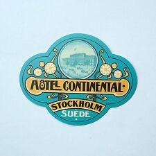 "Retro Sweden Hotel Continental Stockholm Suede 3""x2.5"" vintage Decal sticker"