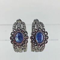 Marcasite Blue Rhinestone Earrings Silver Tone Avon Party Wedding Vtg Woman Gift
