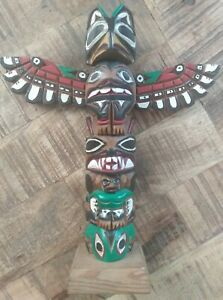 """Ray Williams/Hand-Carved & Painted Wooden Totem Pole/Native American/Seattle/9"""""""