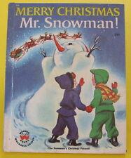 MERRY CHRISTMAS MR SNOWMAN  vintage Wonder Book present Irma Wilde 1951 HB Nice!