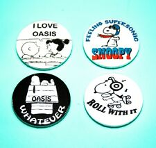 SET OF 4 SNOOPY PEANUTS OASIS BRIT POP INSPIRED BUTTON PIN BADGES