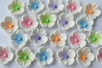 24 edible blossom birthday cake flowers. Edible flower cake toppers decorations