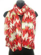 Red Hot Chilli Pepper Scarf Wrap Scarves Sarong Chiffon xx