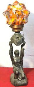VINTAGE ART-DECO FIGURAL LAMP LADY BALANCIN GLOBE SHADE CIRCA 1930's