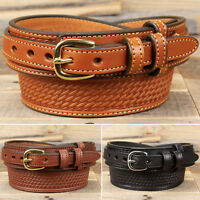 Amish Handmade Basketweave Embossed Ranger Belt - Yoder Leather