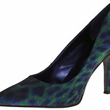 Nine West Flax Blue Green Sparkle Animal Classics Heal Pointy Toe Pump 6.5 M USA
