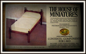 DOLLHOUSE HOUSE OF MINIATURES CHIPPENDALE SINGLE LOW POST BED KIT, ANTIQUE COPY
