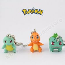 3pcs Pokemon Charmander/Bulbasaur/Squirtle 2cm-3.5cm Key Ring Chain Figure Set