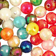 100 Mixed Colour Acrylic Plastic Opaque Faceted AB Spacer Beads 8mm