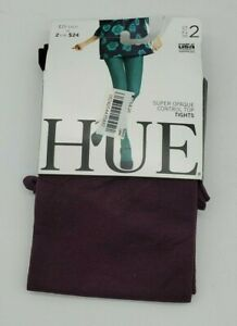 Hue Women's Super Opaque Control Top Tights NWT New Size 2 Deep Burgundy Color