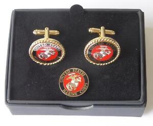 New USMC United States Marine Corps Cufflinks Lapel Pin Boxed USA TUXXMAN