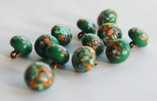 VINTAGE MILLEFIORI JAPANESE GLASS BUTTONS COLORFUL • 10mm • GREEN