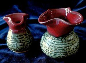 2 LANTERN HILL POTTERY Handmade POTS VASES PITCHERS Art Pottery North Carolina