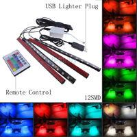 4x Multi-Color RGB Wireless Remote Control 12 LED Strip Lights Car Interior USB