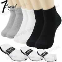 3 6 9 12 Pairs Mens Low Cut Ankle Quarter Cotton Sport Solid Socks 9-11 10-13