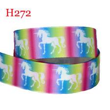 "Unicorn Printed Grosgrain Ribbon Wide 7/8"" DIY Hair Bow Festival Wedding Party"