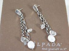 SILPADA Sterling Silver Oxidized Pearl Quartz Dangle Chain Post Earrings P1541