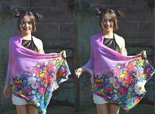 Unique Art Designer Luxury 100% Australian Wool Shawl Floral Scarf Wedding Wrap