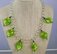 Vintage Foiled Green Leaf & Clear Glass Bead Necklace Signed Sterling Clasp