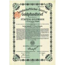1926 - GERMAN GOLD BOND 50 GOLDMARK (17,9210 Gramm Feingold)- Scripopass (COA) i