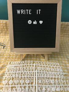 Message menu note felt board plastic letters easel changeable words 10x10 NWOP
