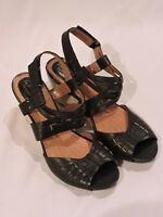 Clarks Artisan Kyna Smart Leather Black Wedge Sandals Womens Shoes Sz 9M Comfort