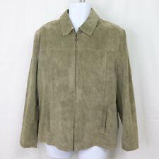 Tommy Hilfiger Men's Size M Suede Leather Jacket Sandy Brown Lined Zip