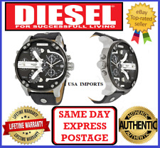 DIESEL DZ7313 MR DADDY 2.0 SILVER/ BLACK  Multiple Time Zone Chrono Mens Watch