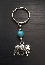 Gorgeous Silver Tone Elephant Keyring/Bag Charm With Turquoise Bead, Great Gift