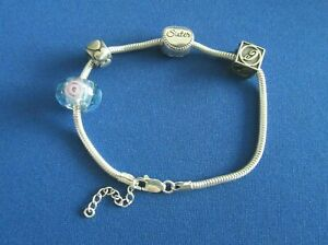 STERLING SILVER CHARM BRACELET ROPE CHAIN WITH CHARMS 15.5 G - 7.25 INCHES