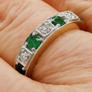 18ct Gold Ring 0.5T Emerald 0.1CT Diamond Eternity 18 Carat Yellow Gold NEW