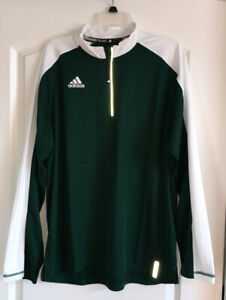 Men's Adidas NEW Green/White 1/4 Zip Pullover-Large