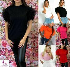 Femmes Puff VOLANTS RÉSILLE TULLE Scoop cou à manches courtes Top Femmes Parti Tee T-Shirt