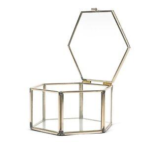 Glass Jewellery Box Geometrical Organiser Holder for Rings Necklaces Bracelets