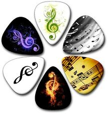 6 Treble Clef Designs ~ Guitar Picks  Plectrums  Printed Both Sides