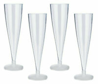 6 pcs  Plastic Party BBQ Wine Glasses Clear Disposable Celebration 20cm UK