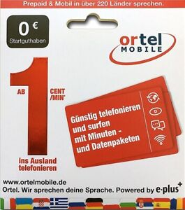 Ortel Mobile Prepaid SIM Karte Aktiviert Registriert o2 / Eplus Netz Aktiv