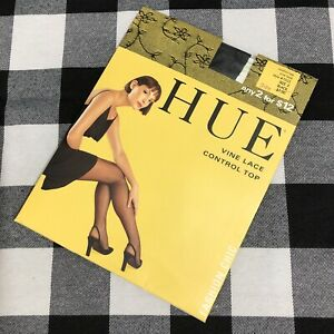 """Vine Lace Nylons Hosiery Black Control Top Up to 6'0"""" Lycra Size 3"""