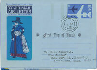 GB 1973 Second Issue for Wales 6 P superb Air Letter to Aldringham FDC CARDIFF