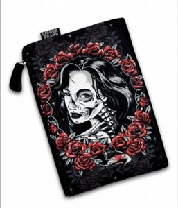 Liquor Brand Fatale gothic punk cosmetic bag zip closure dead girl in red roses