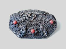 Antico lavorato con cura argento spilla M. pietre rossa 9,7 G/4,5 x 3,0 cm