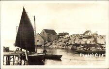 Peggy's Cove Nova Scotia Sailboat c1940s Real Photo Postcard