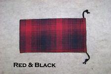 Pipe Sock Plaid Flannel Drawstring Bag Red & Black #6