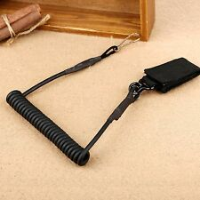 Elastic Coiled Spring Cord Pistol Gun Compact Secure Lanyard Sling w Belt