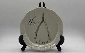 "ANTHROPOLOGIE, Calligrapher Canape Plate, LINEA CARTA ~Diva Pyari, Alphabet -""W"""